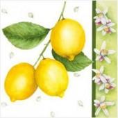 "Салфетка для декупажа ""Ветка с лимонами"" бумажная, 33х33 см, на фото 1/4 салфетки, SDL080000"