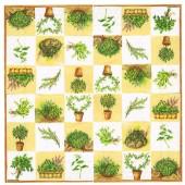 """Салфетка для декупажа """"Травы на кремовом фоне"""" бумажная, 33х33 см, на фото целая салфетка, 13305960"""