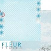 """Бумага для скрапбукинга двухсторонняя FD1001702 """"Белые пушинки"""", коллекция """"Зимние чудеса"""", 30х30 см, Fleur design"""