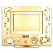 """Рамка-панно """"МОРЕ"""" деревянная для фото с подставкой и элементами для декора, 26х20 см, арт. 13998"""