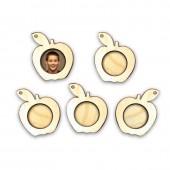 """Рамочки для фото """"ЯБЛОКО"""" деревянные подвесные маленькие, набор 5 шт., 5х5,8 см, арт. 13861"""