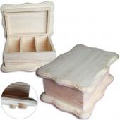 Шкатулка для чайных пакетиков фигурная на ножках, 3 ячейки, сосна, 26,5х19х11,5 см, ПС-ШС-3А, Россия