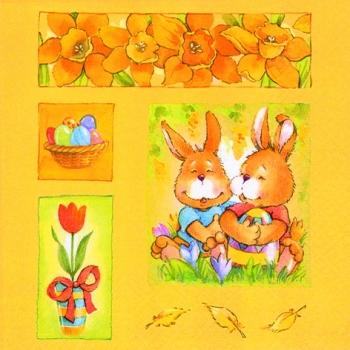 Салфетка для декупажа AH8280061 бумажная, трёхслойная, размер 33х33 см, на фото 1/4 салфетки, Пара кроликов