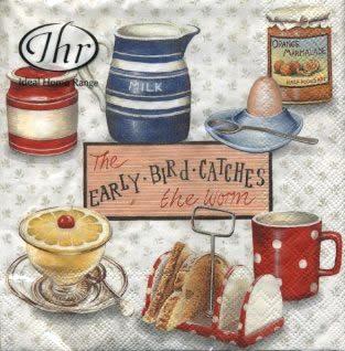 Салфетка для декупажа IHR-498260 бумажная, трёхслойная, размер 33х33 см, на фото 1/4 салфетки, Чай, молоко и тосты, кремовый