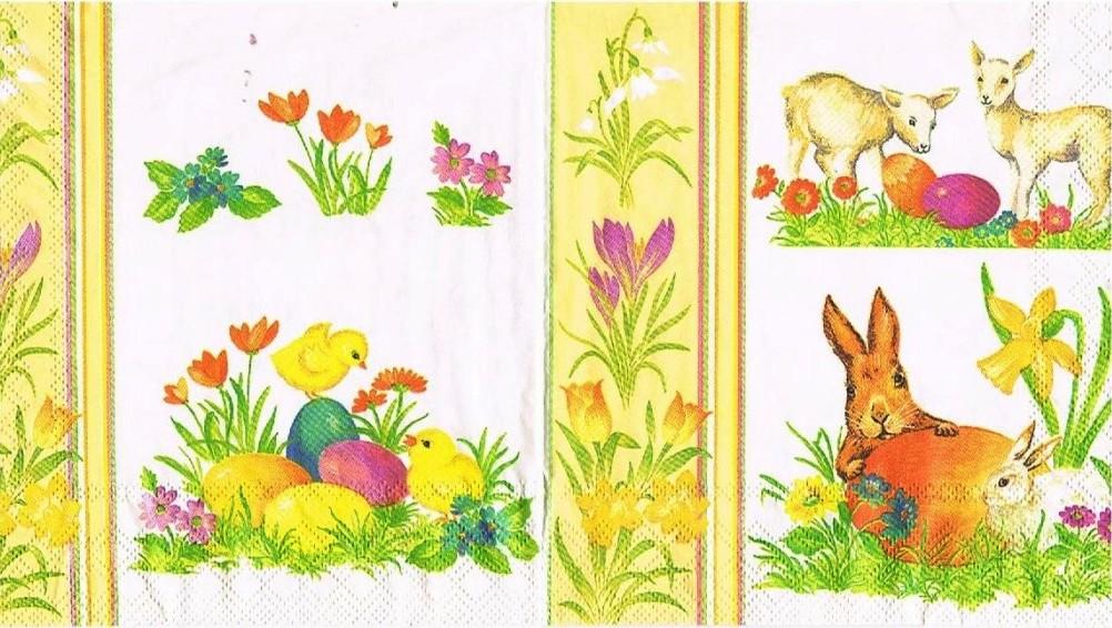 Салфетка для декупажа 23301495 бумажная, трёхслойная, размер 33х33 см, на фото 1/2 салфетки, Пасха на жёлтом