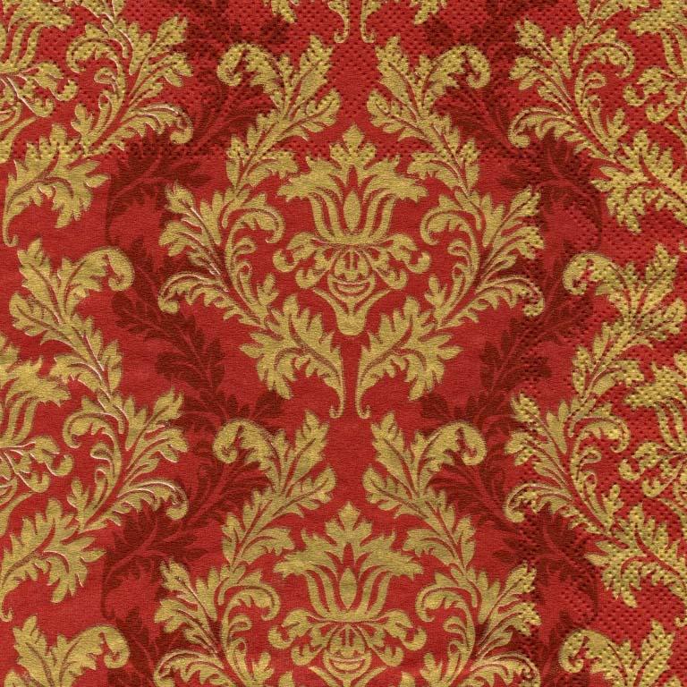 Салфетка для декупажа 463-6352 бумажная, трёхслойная, размер 33х33 см, на фото 1/4 салфетки, Узор золотой на бордовом фоне