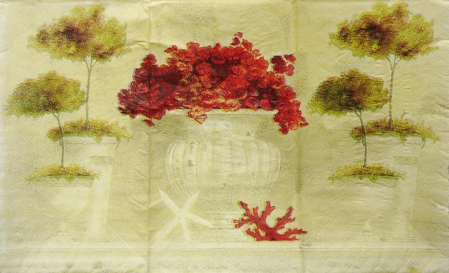 Салфетки цветы и деревца в вазонах