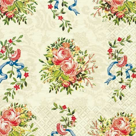 Салфетка для декупажа 211238 бумажная, трёхслойная, 33х33 см, на фото 1/4 салфетки, Цветы с лентами