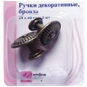 Декоративная ручка 11.129-G002 Hemline металлическая, 2 шт., цвет: античная бронза, 2,4х2 см