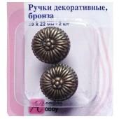 Декоративная ручка 11.130-G002 Hemline металлическая, 2 шт., цвет: античная бронза, 2,3х2,2 см