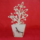 """Заготовка для часов с механизмом и стрелками """"Цветок в кашпо"""", фанера, 21х5,5х34,7 см, 131038"""