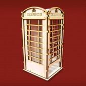 """Домик для чайных пакетиков """"Телефонная будка"""" деревянный, арт. 152132-S, 19,2х8,8х9,8 см"""