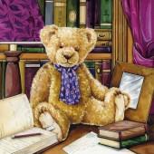 """Салфетка для декупажа """"Мишка Тедди в библиотеке"""" бумажная, 13308970, 33х33 см"""