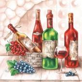 """Салфетка для декупажа """"Французское виноградное вино"""" бумажная, арт. 13309045, 33х33 см"""
