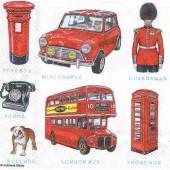 """Салфетка для декупажа """"Лондон миниатюры"""" бумажная 13309800, 33х33 см, на фото 1/4 салфетки"""