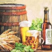 """Салфетка для декупажа """"Пиво и хмель"""" бумажная 13310110, 33х33 см"""