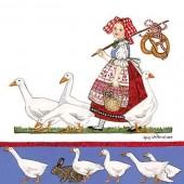"""Салфетка для декупажа """"Девушка с гусями"""" бумажная, 13312680, 33х33 см"""