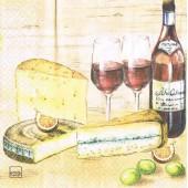 """Салфетка для декупажа """"Вино и сыр"""" бумажная, 211704, 33х33 см"""