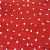 """Салфетка для декупажа """"Звёзды на красном"""" новогодняя, 33х33 см, на фото 1/4 салфетки, IHR300"""