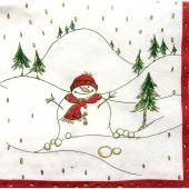 "Салфетка для декупажа ""Забавный снеговичок"" новогодняя, 33х33 см, на фото 1/4 салфетки, IHR309"