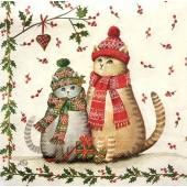 """Салфетка для декупажа """"Два котика в шапочках и шарфиках"""" новогодняя, 33х33 см, на фото 1/4 салфетки, IHR310"""