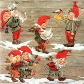 """Салфетка для декупажа """"Гномы готовятся к Рождеству"""" новогодняя, 33х33 см, на фото 1/4 салфетки, IHR312"""