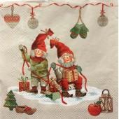 """Салфетка для декупажа """"Гномы готовят подарки"""" новогодняя, 33х33 см, на фото 1/4 салфетки, IHR313"""