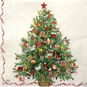 "Салфетка для декупажа ""Ёлка с игрушками"" новогодняя, 33х33 см, на фото 1/4 салфетки, IHR327"