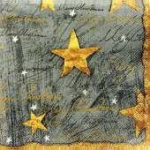 """Салфетка для декупажа """"Золотые звёзды на сером"""" новогодняя, 33х33 см, на фото 1/4 салфетки, IHR332"""