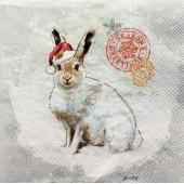 """Салфетка для декупажа """"Зайчик в красном колпачке"""" новогодняя, 33х33 см, на фото 1/4 салфетки, IHR350"""