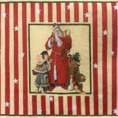 "Салфетка для декупажа ""Викторианское Рождество"", 33х33 см, на фото 1/4 салфетки, IHR376"