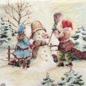 "Салфетка для декупажа ""Дети и снеговик"" новогодняя, 33х33 см, на фото 1/4 салфетки, IHR390"