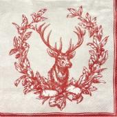 """Салфетка """"Благородный олень"""" для декупажа бумажная IHR400, 33х33 см, на фото 1/4 салфетки"""