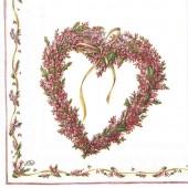 """Салфетка для декупажа """"Венок в форме сердца"""" бумажная IHR-221, 33х33 см"""