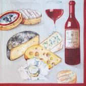 """Салфетка для декупажа """"Вино и сыр"""" бумажная, ADS1082018, 33х33 см"""