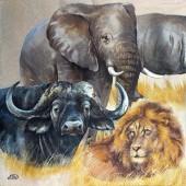 """Салфетка для декупажа """"Африканские животные 2"""" бумажная, IHR-368, 33х33 см"""
