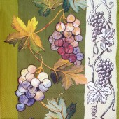 """Салфетка для декупажа """"Грозди винограда на зелёном"""" IHR-476680, 33х33 см, на фото 1/4 салфетки"""