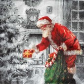 "Салфетка бумажная для декупажа ""Весёлый Санта с подарками"" IHR100516, 33х33 см"