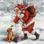 """Салфетка бумажная для декупажа """"Весёлый Санта и щенок"""" IHR100637, 33х33 см"""