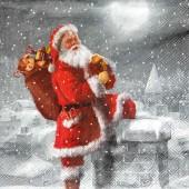 """Салфетка бумажная для декупажа """"Весёлый Санта на крыше"""" IHR100645, 33х33 см"""
