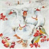 """Салфетка для декупажа """"Гуси  рождественские"""" бумажная, IHR100667, 33х33 см, на фото 1/4 салфетки"""