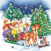 """Салфетка для декупажа """"Рождественские сани и ангелы"""" SDGW012201, 33х33 см"""