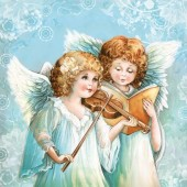 "Салфетка для декупажа ""Ангелы и музыка"" SDGW013101, 33х33 см, на фото 1/4 салфетки"