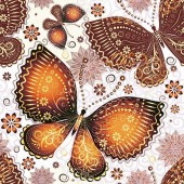 """Салфетка для декупажа """"Бабочки коричневые"""" бумажная SDOG015002, 33х33 см, на фото 1/4 салфетки"""