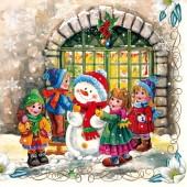 "Салфетка ""Снеговик и дети"" для декупажа бумажная SLGW007001, 33х33 см"