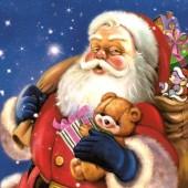 """Салфетка бумажная """"Дед Мороз с плюшевым мишкой"""" для декупажа SLGW013001, 33х33 см"""