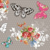 """Салфетка для декупажа """"Бабочки и цветочки рококо"""" бумажная SLOG032501, 33х33 см"""