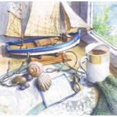 "Салфетка для декупажа ""Морской натюрморт"" бумажная, 33х33 см, 370011, на фото 1/4 салфетки"