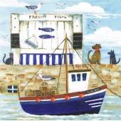 """Салфетка для декупажа """"Синяя лодка"""" бумажная, арт. 370107, 33х33 см, на фото 1/4 салфетки"""