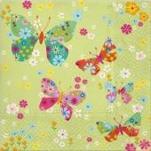 "Салфетка для декупажа ""Бабочки в цветах"" бумажная SDL054900, 33х33 см"